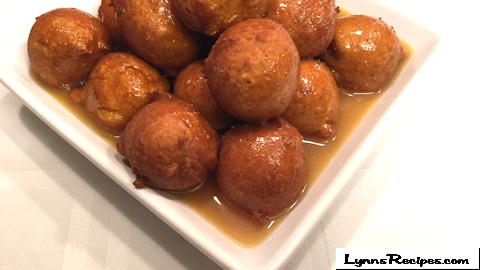 Pumpkin Fritters with Caramel Sauce