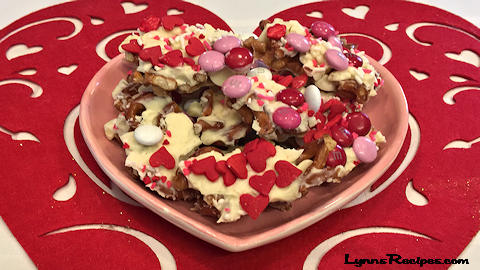 Valentine's Chocolate Pretzel Bark